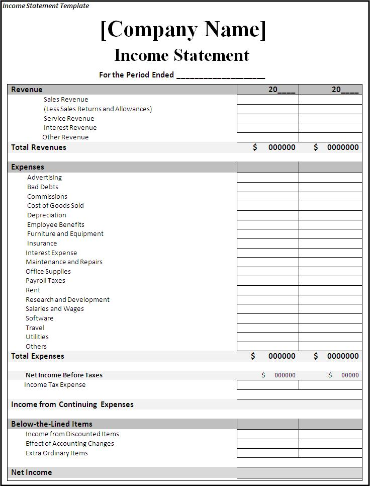 income and expense statement template income statement template expense spreadsheet income