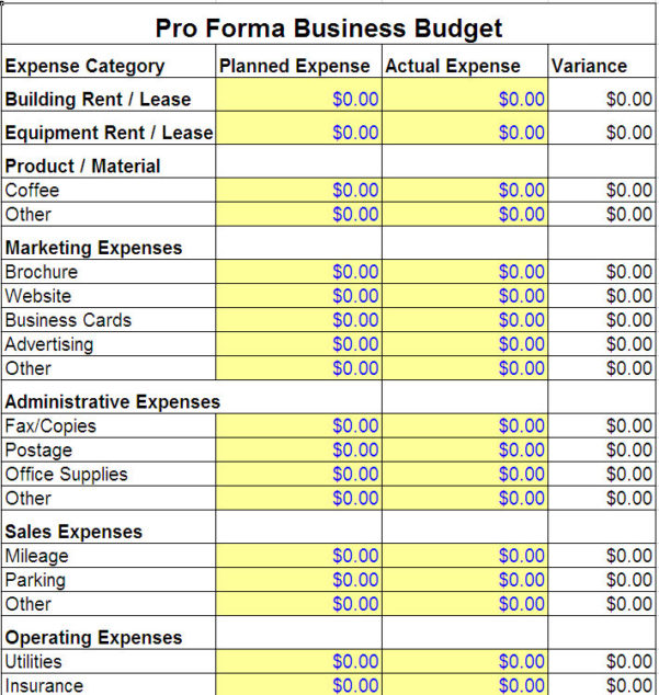 Expense Budget Template