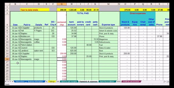 Accounting Expense Spreadsheet