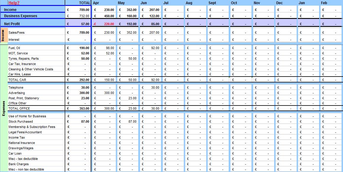 Accounting Spreadsheet Sample