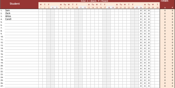 Attendance Tracking Sheet Template