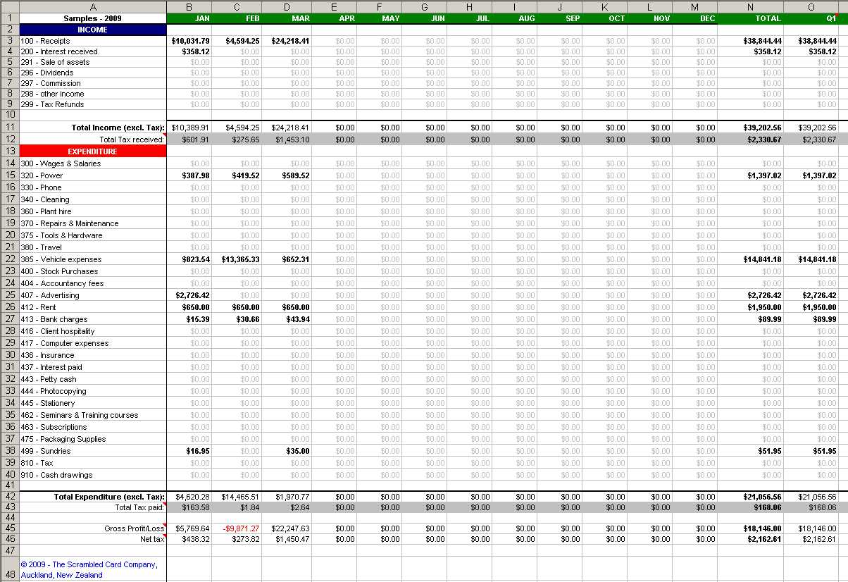 Basic Bookkeeping Spreadsheet Free