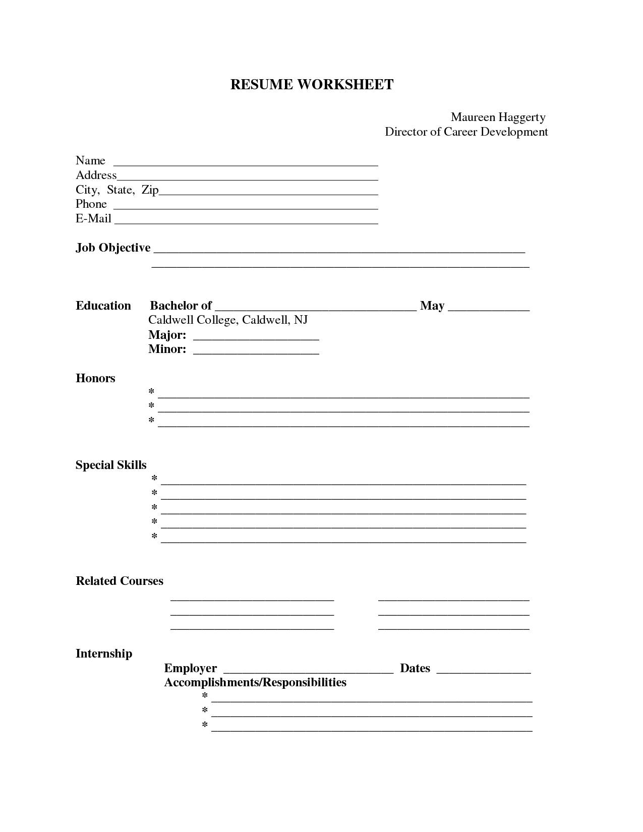 Blank Worksheet Templates For Teacher