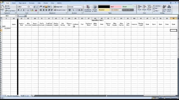 Bookkeeping Excel Template 1