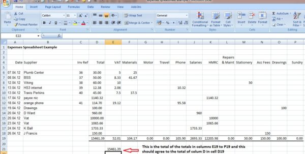 Bookkeeping Spreadsheet Template 1