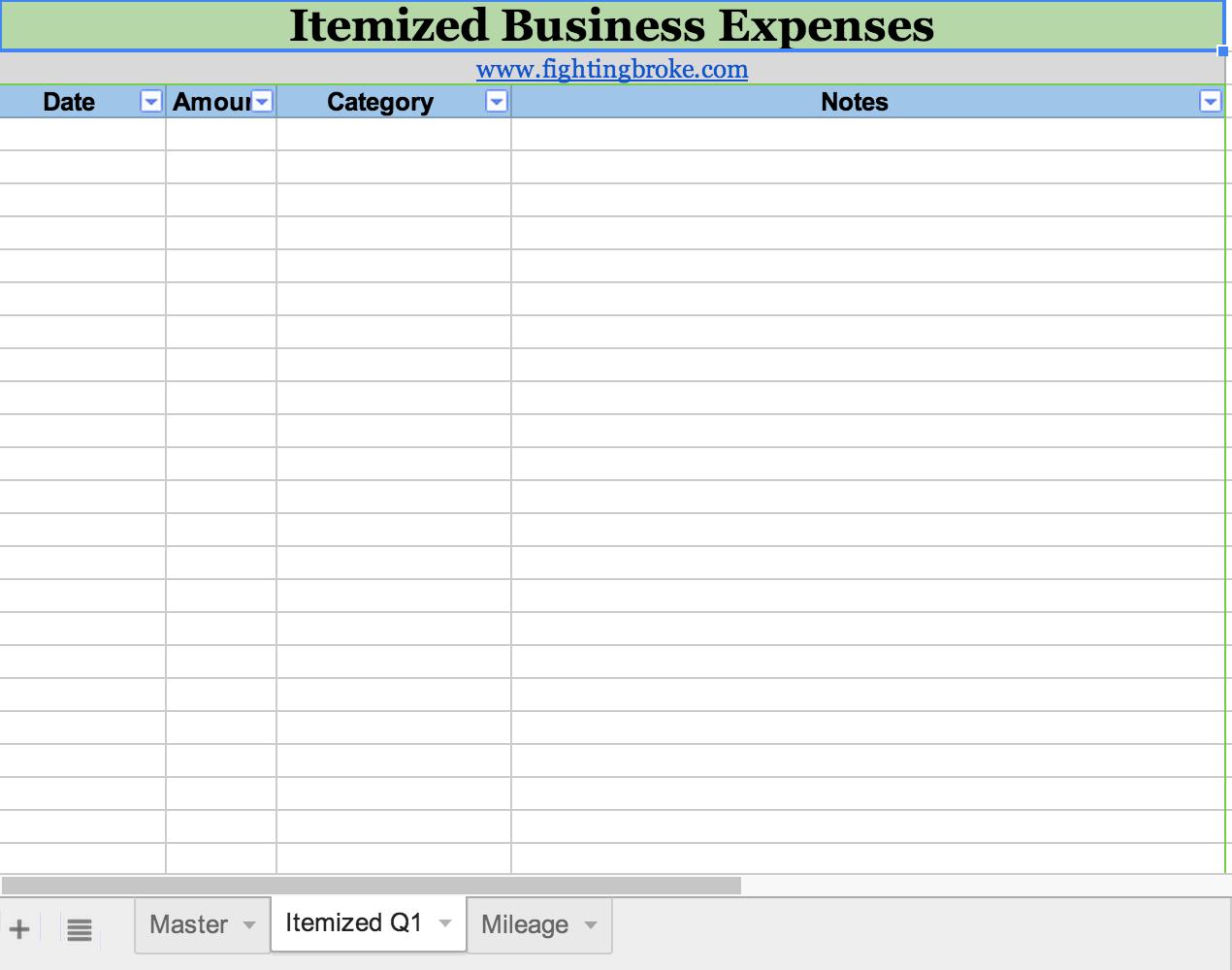 Spreadsheet For Tax Expenses Expense Spreadsheet ...