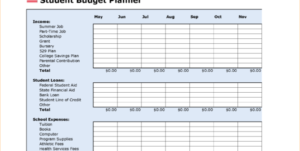 College Budget Plan Template