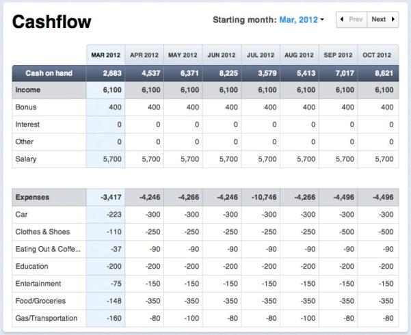 Cash Flow Projection Sample