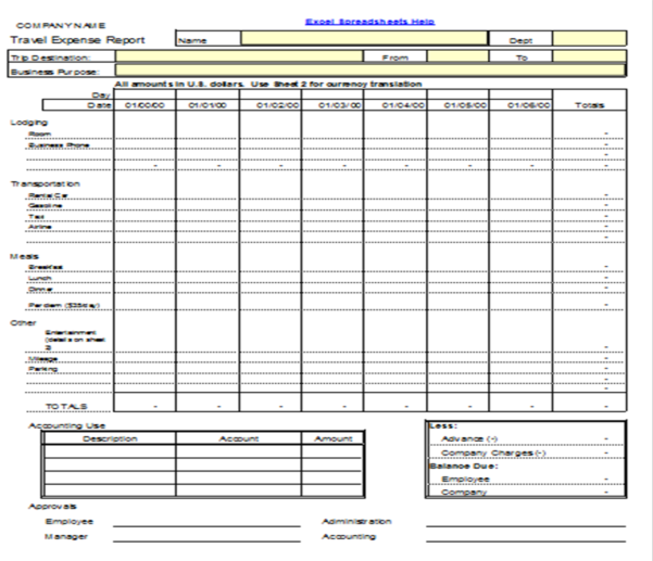Expense Form Template For Small Business
