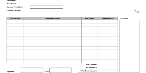 Expense Report Template Word 2