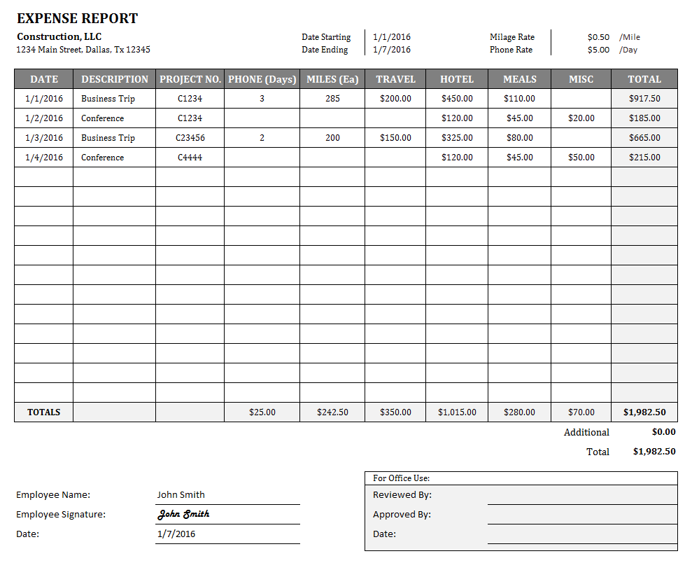 expense report form excel excel spreadsheet templates