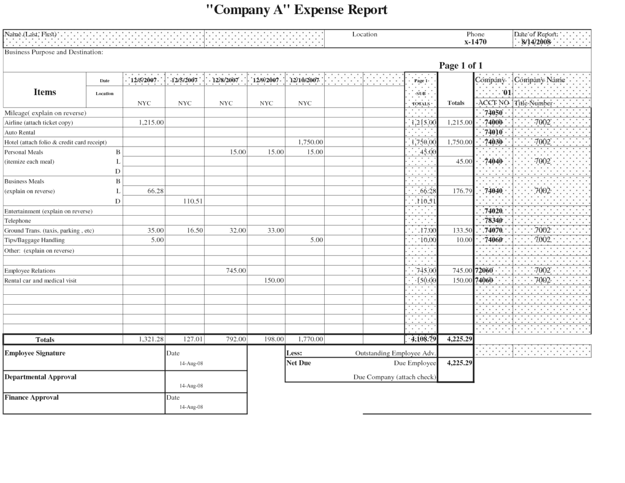 Account Application Form Template