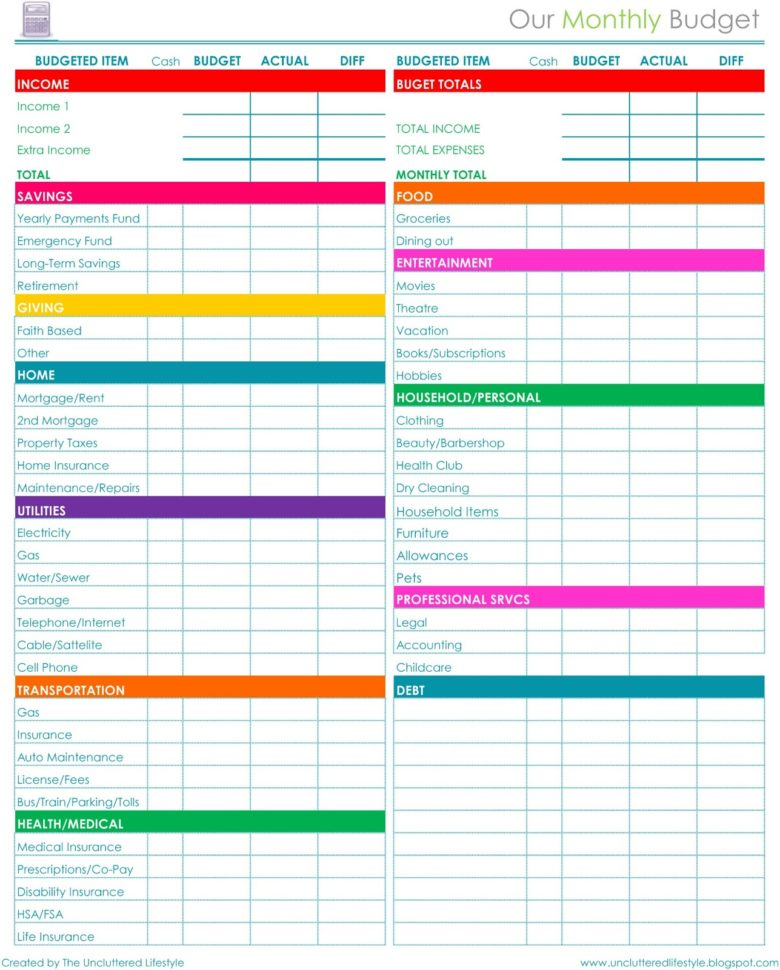 Free Printable Budget Planner 1