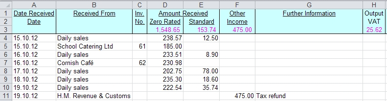 Monthly Bookkeeping Spreadsheet