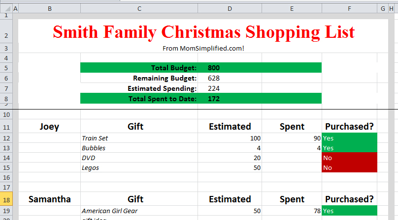 excel household budget