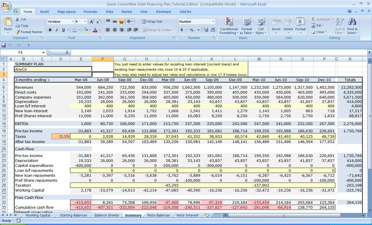 Financial Plan Template Excel - Business plan template financial advisor