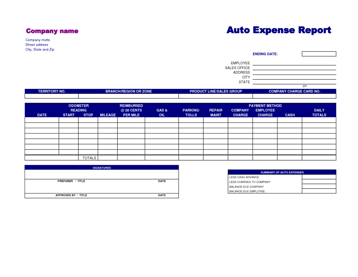 Microsoft Excel Expense Report Template  Microsoft Expense Report Template