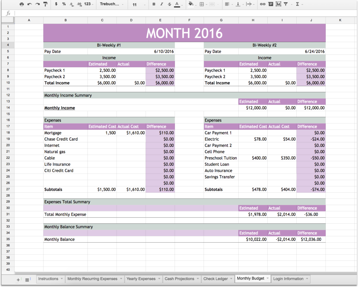 personal finance excel template financial planning excel