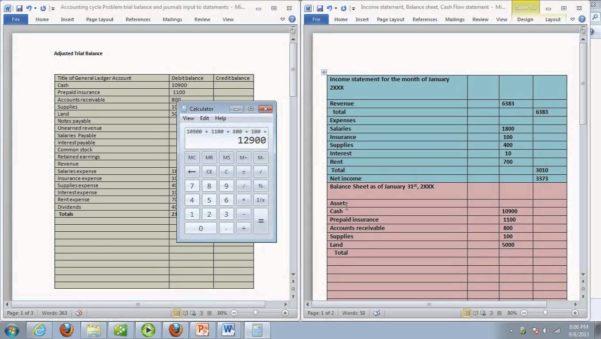 trail balance sheet