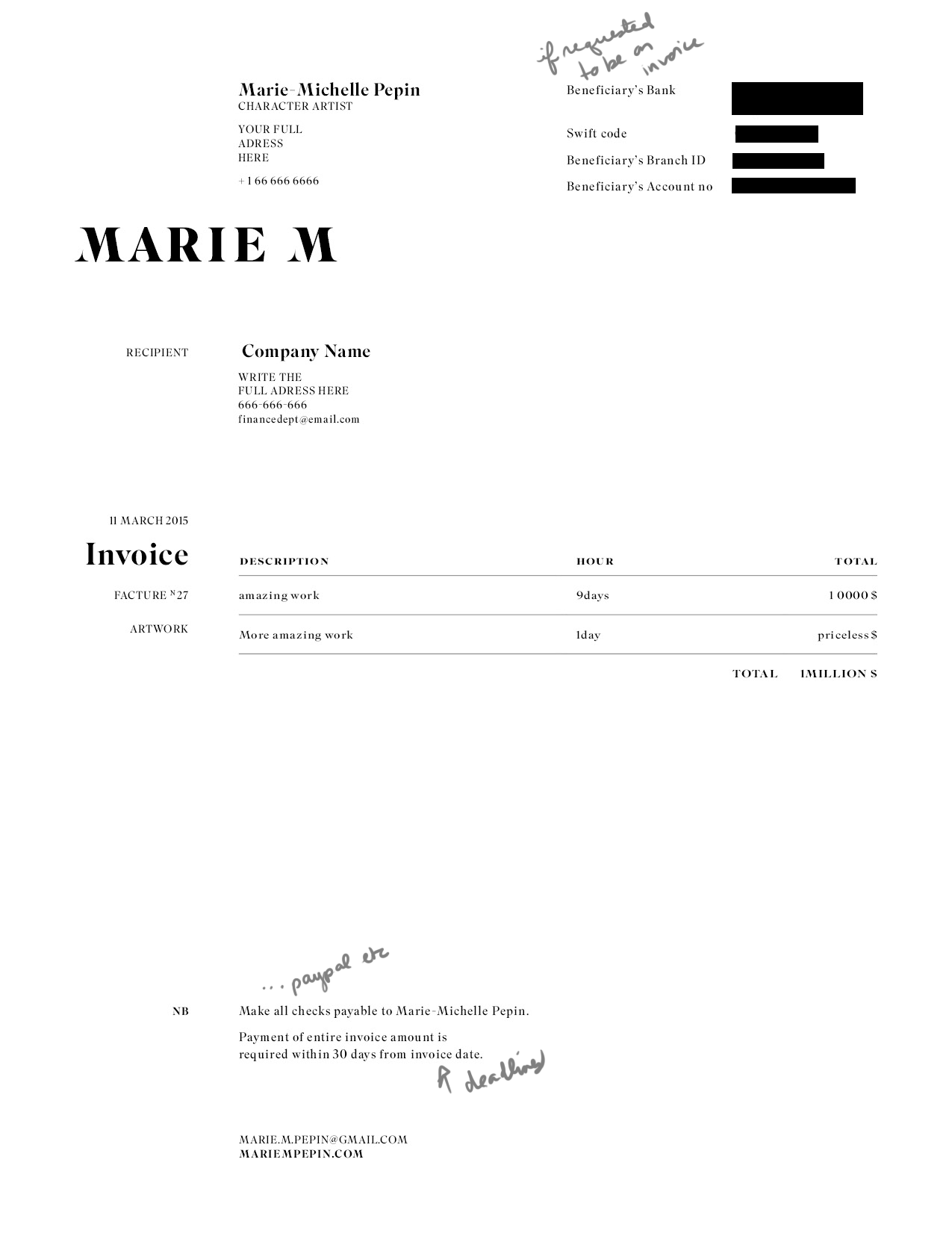 Artist Invoice Template Artist Invoice Samples Spreadsheet Templates for Busines Spreadsheet Templates for Busines Painters Receipt For Work