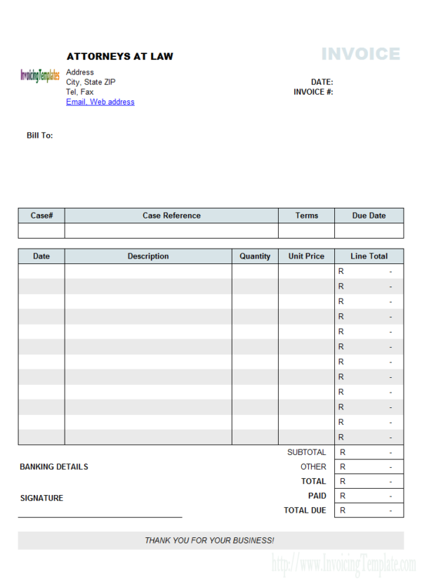 Attorney Invoice Samples