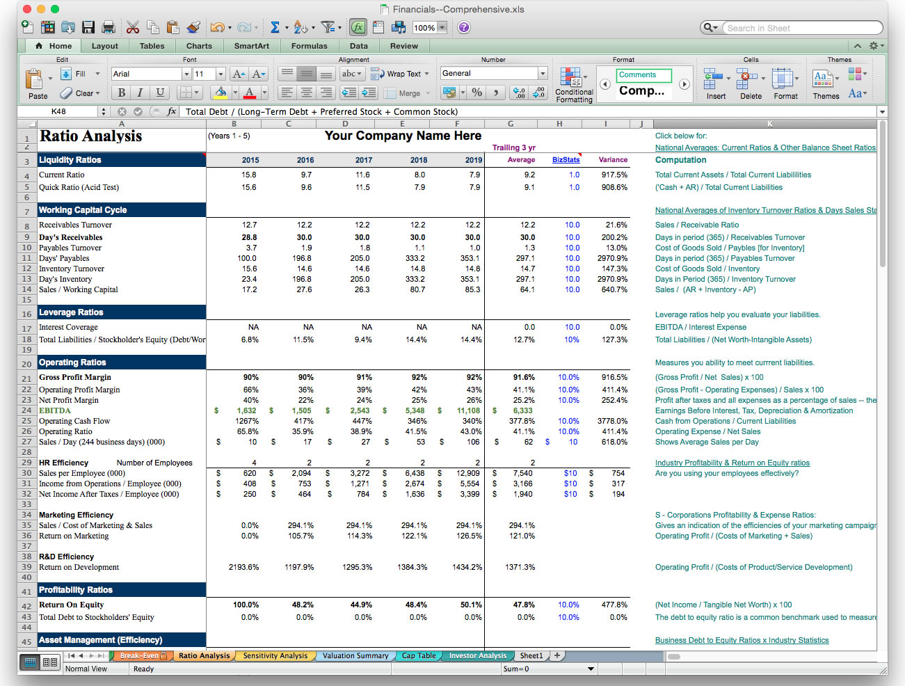 Financial Planning Excel Sheet