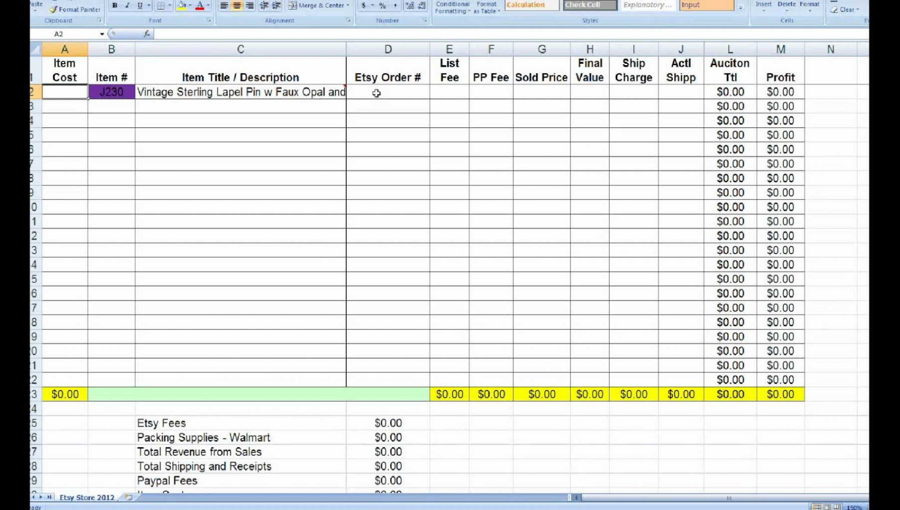 Free Excel Profit Loss Template 1