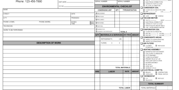 HVAC Service Order Invoice Templat HVAC Invoice Template Spreadsheet Templates for Business