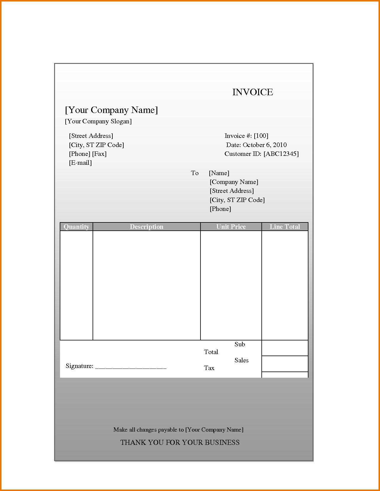quickbooks invoice templates spreadsheet templates for busines quickbooks invoice template auto. Black Bedroom Furniture Sets. Home Design Ideas