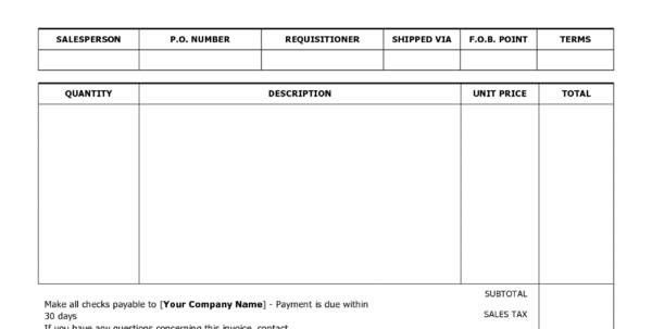 Invoice Templates Printable Free