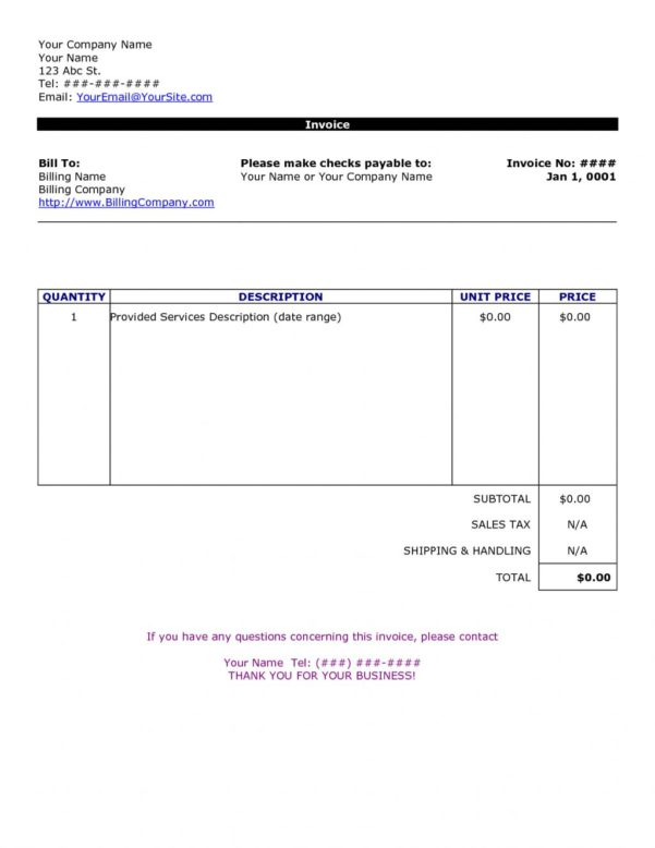 Invoice Templates Printable Free Excel