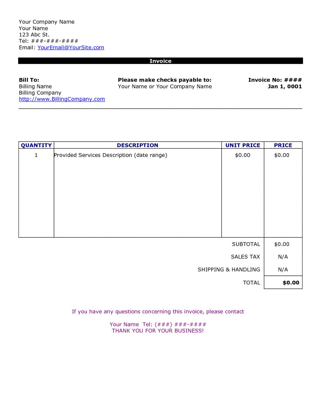Invoice Templates Printable Free Excel