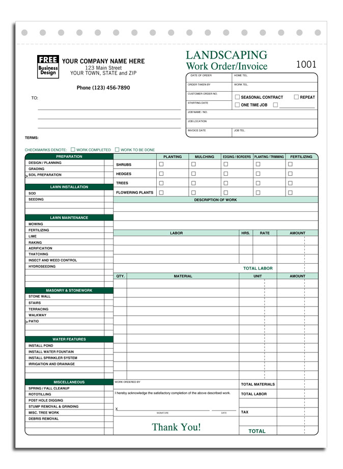 Landscaping Invoice Template Lawn Care Invoice Template Spreadsheet Templates for Busines Spreadsheet Templates for Busines Free Lawn Care Invoice Template