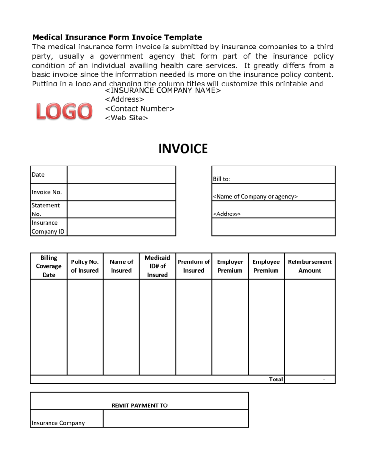 Medical Invoice Template Spreadsheet Templates for Busines ...