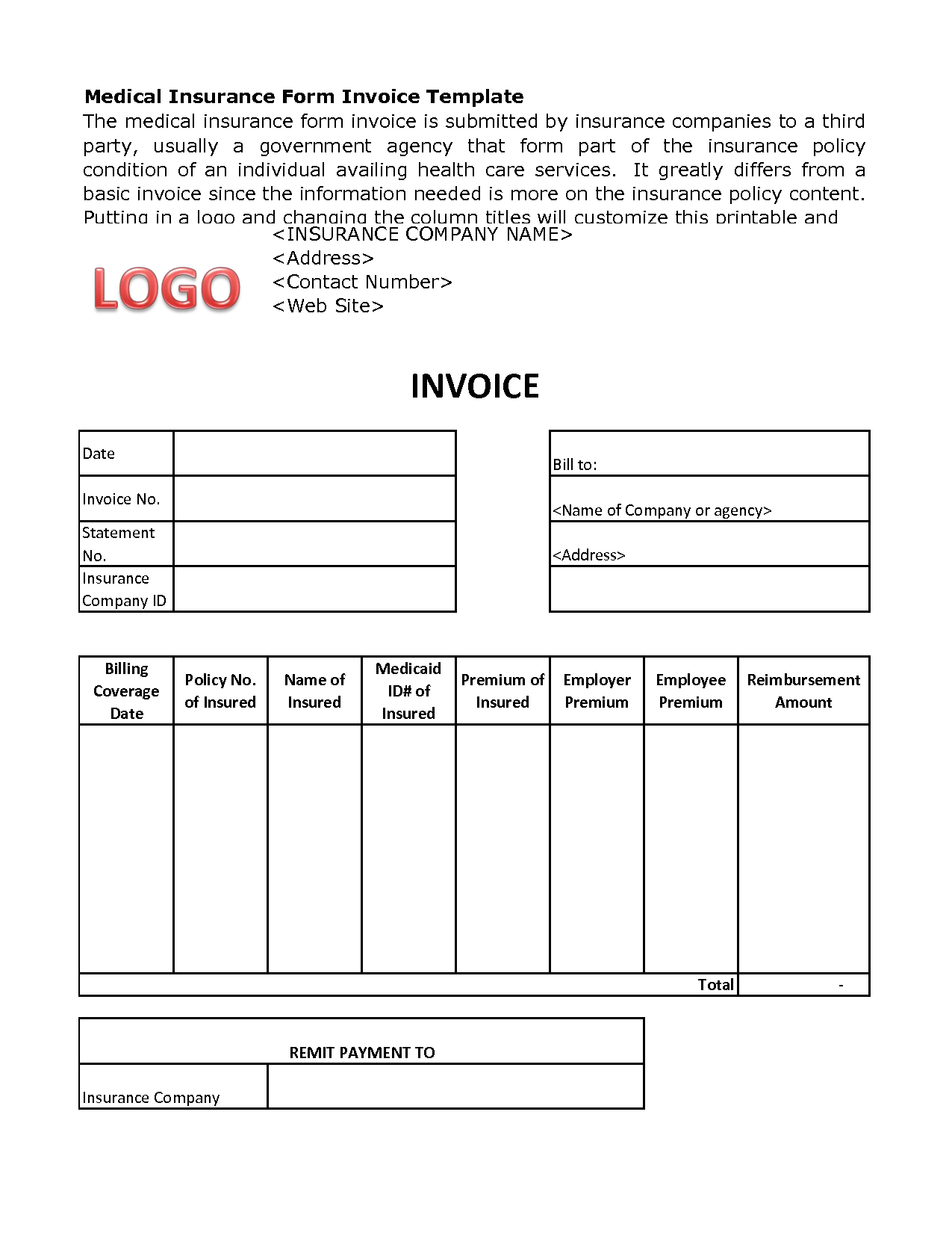 Medical Billing Invoice Template Free