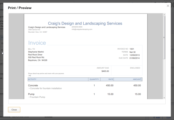 QuickBooks Edit Invoice Template