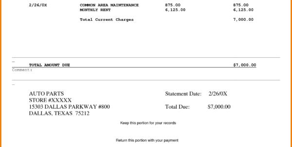 Rental Invoice To Tenant 1