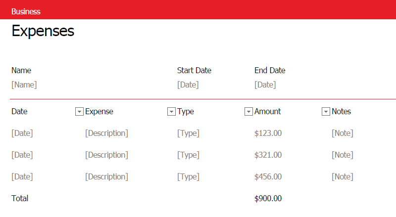 Small Business Monthly Expense Report