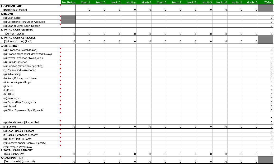 Accounting Worksheet Template