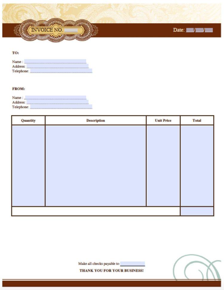 spreadsheet templates for business handyman invoice