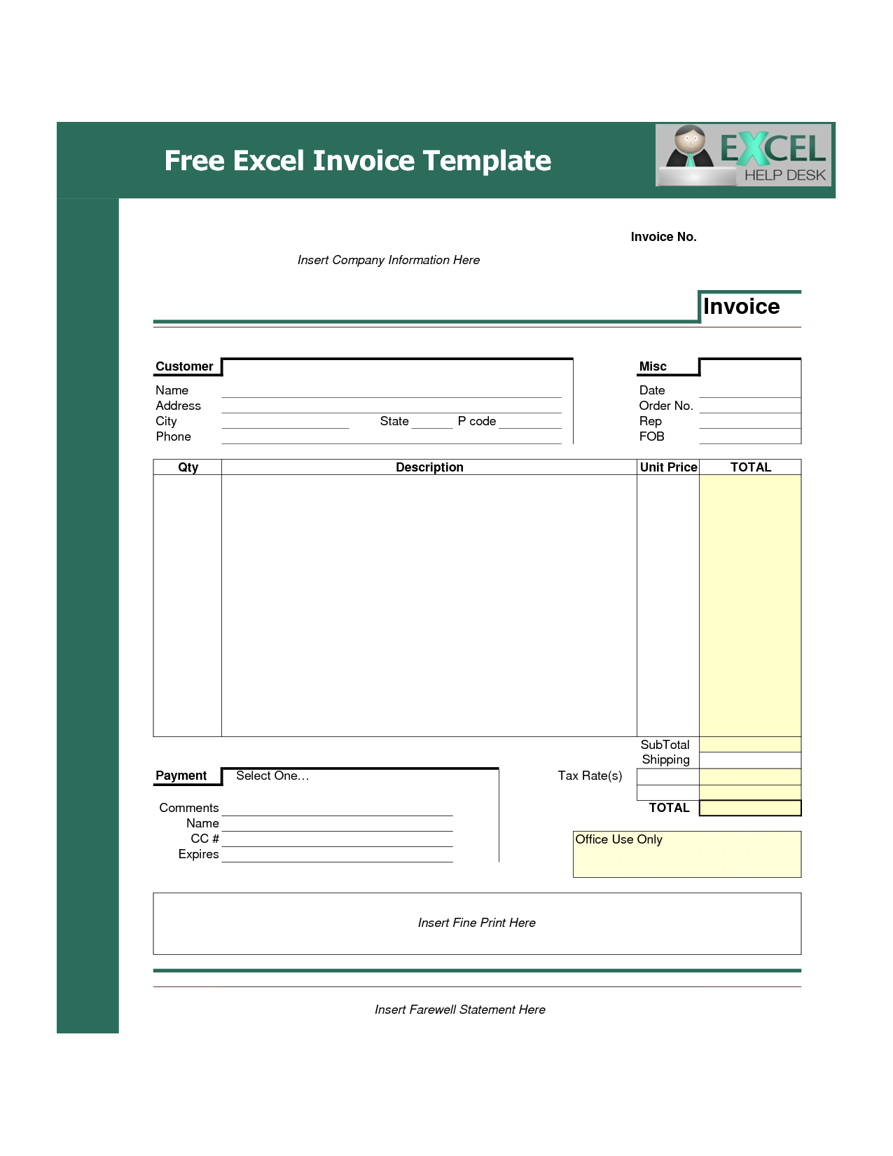 Billing Invoice Template Excel