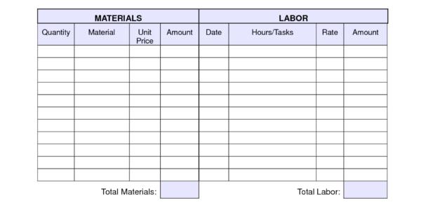 Blank Labor Invoice