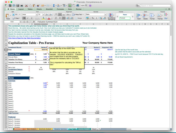 Business Plan Financial Projections Template Free