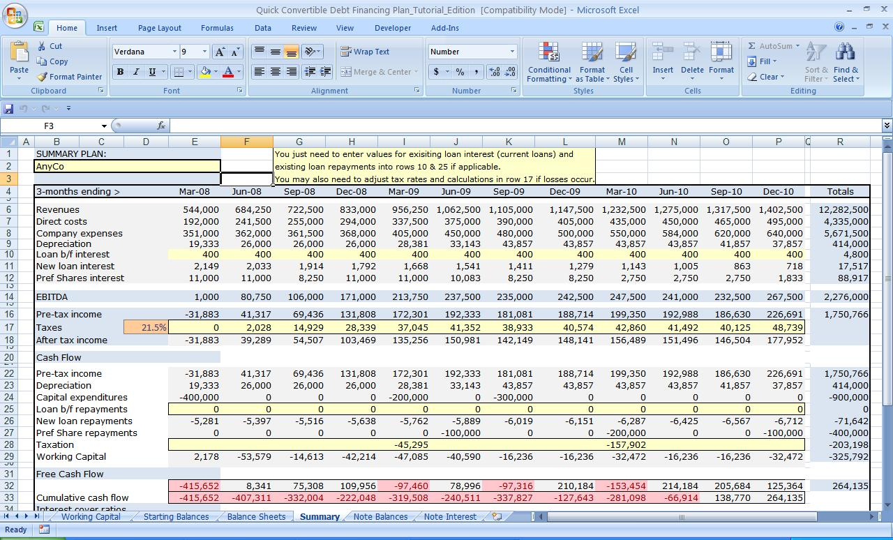 Business Plan Financial Template Excel Download
