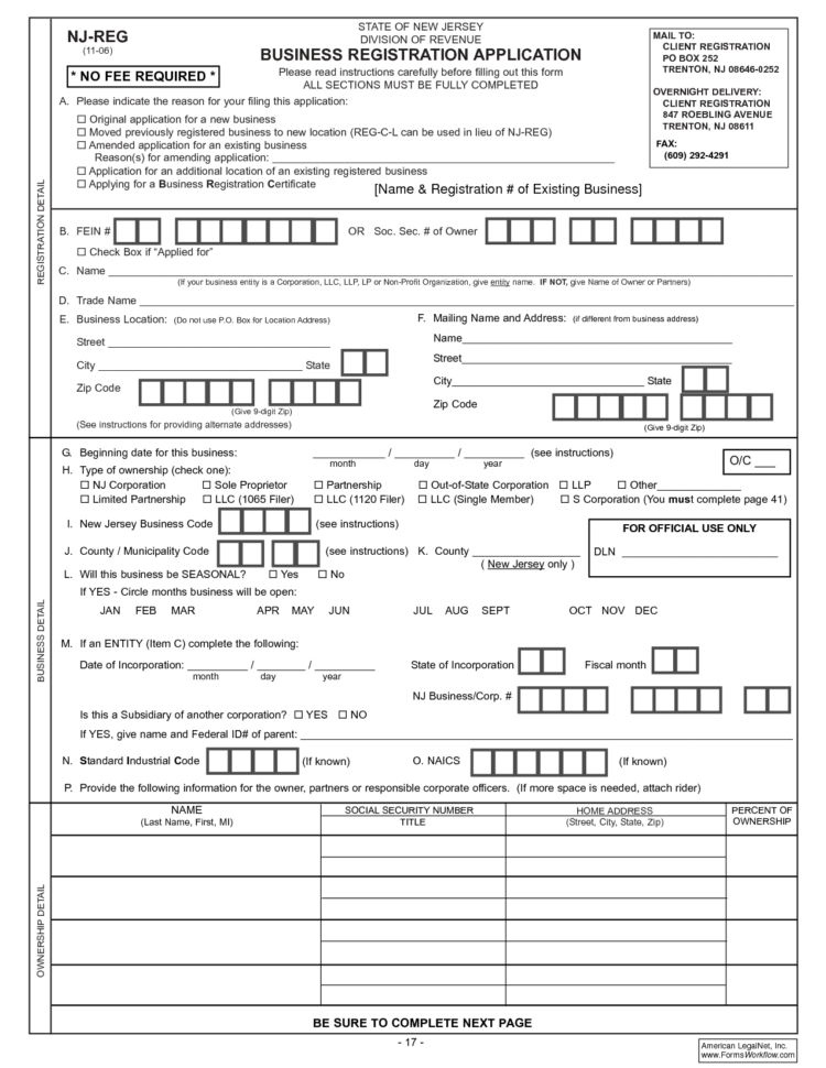 Business Registration Application Form