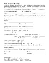 Credit Reference Form Pdf