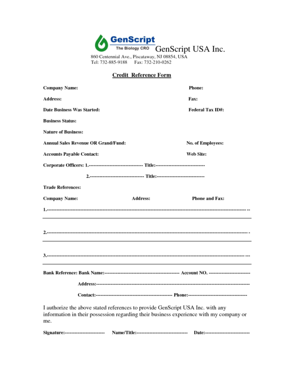 Credit Reference Form Template