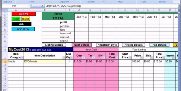 Ebay Profit Track Sales Excel Spreadsheet Ebay Spreadsheet Template Spreadsheet Templates for Business
