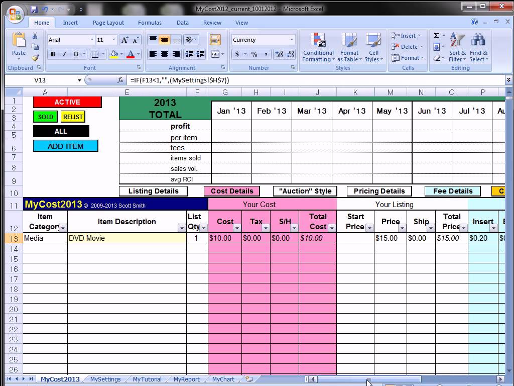 ebay profit track sales excel spreadsheet ebay spreadsheet template