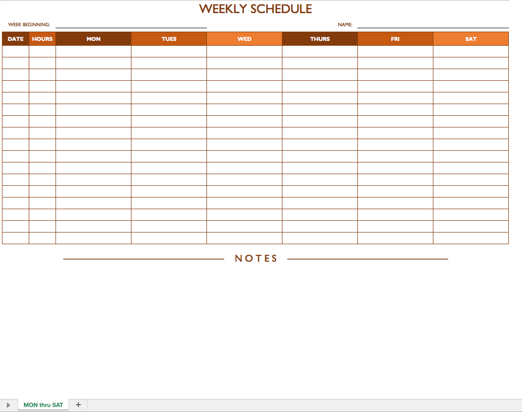Excel Schedule Template